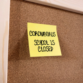 school closed for coronavirus post-it