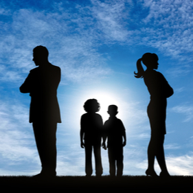 divorced family outside