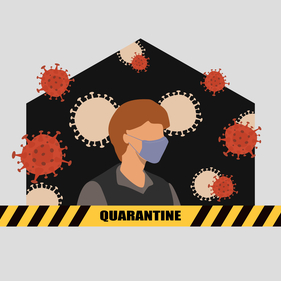 man in quarantine at home